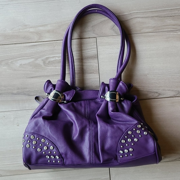 Charming Charlie 3 section Purse w Stones/Ruffles